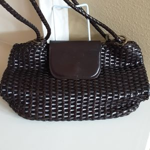 Cole Haan brown woven hobo slouch purse